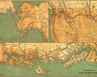 Map of the route of the Alaska excursion steamers, 1891. Vintage restoration hardware home Deco Style old wall reproduction map print.