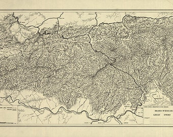 Map of Great Smoky Mountains National Park, North Carolina/Tennessee, trail map, 1935. Restoration Hardware Home Deco Style Old Reproduction