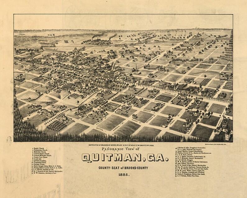 Map Of Quitman Georgia.Map Of Quitman Georgia Brooks County 1885 Vintage Etsy
