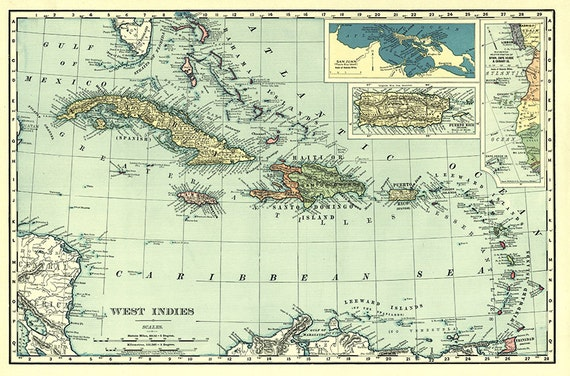 Map of the West Indies, Gulf Coast, Gulf of Mexico, Caribbean Sea, and  Bahama Islands. 1892. Vintage Reprint Map.
