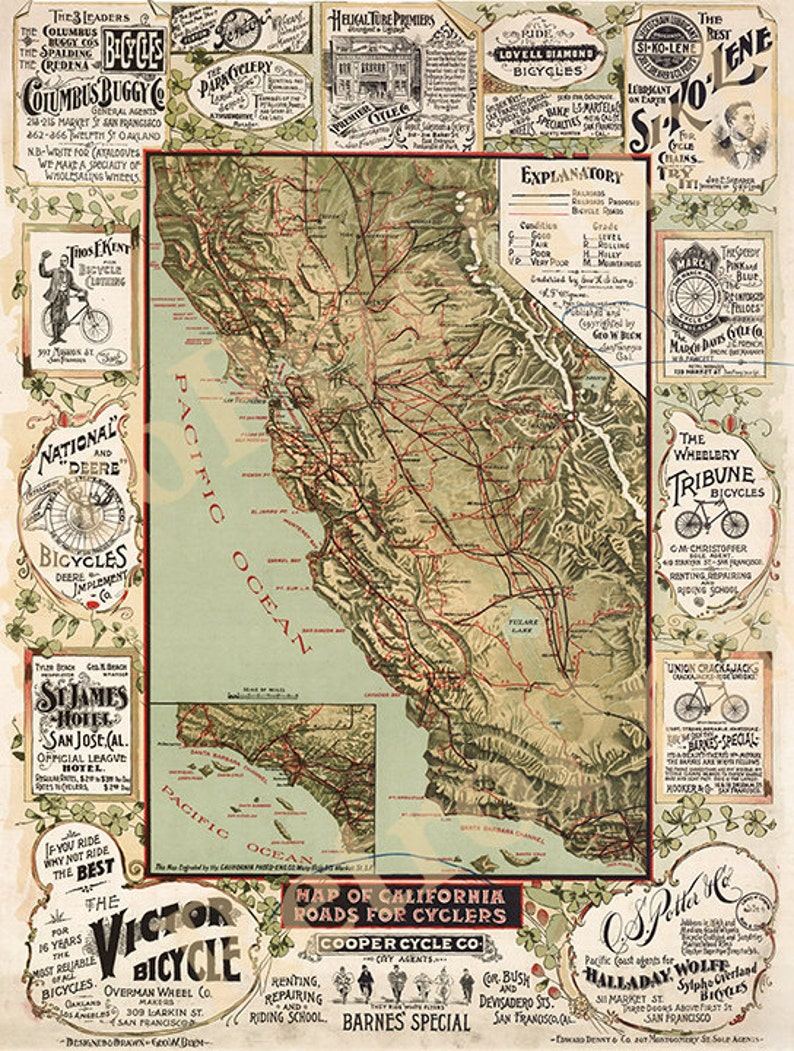 California Bicycle Map 1895 California Cyclers Map, Antique California wall  Map, Old California Map Fine art Print Poster CA0003 Vintage
