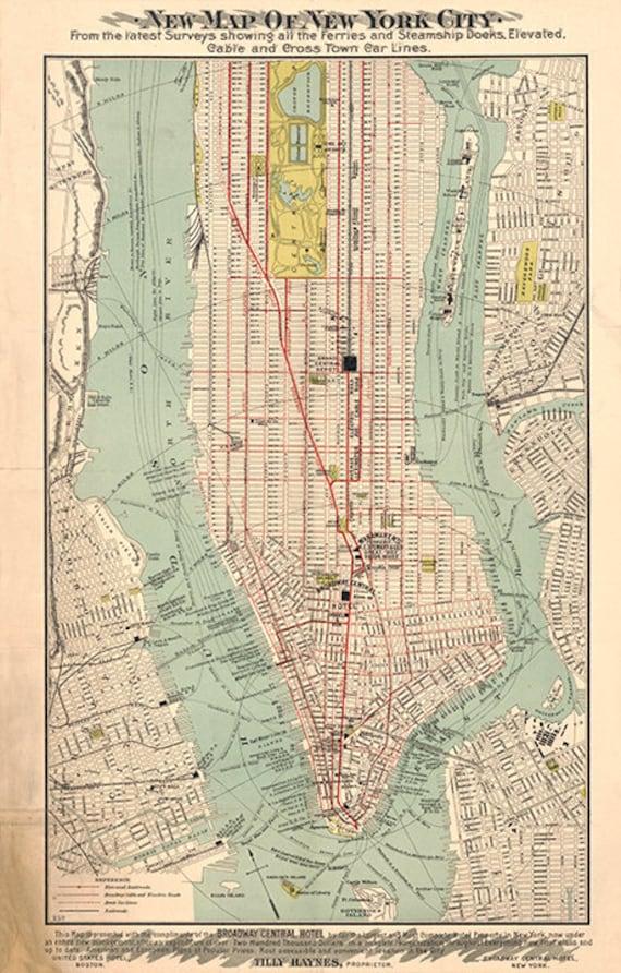 Karte von Manhattan, New York 1890. Oldtimer Restaurierung Hardware  Haus-Deco-Stil alten Wand Reproduktion Karte Drucken.
