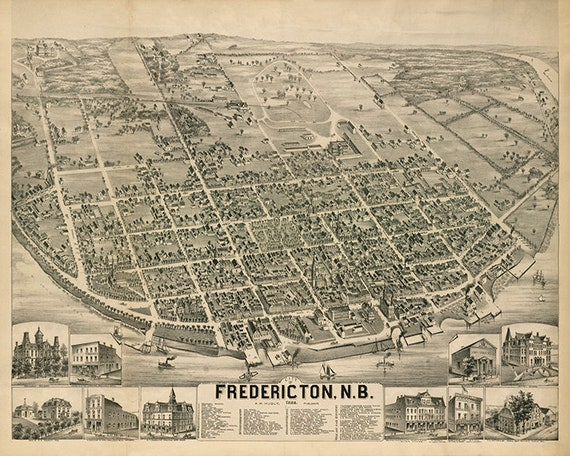 Map Of Fredericton New Brunswick Canada In 1882 Etsy