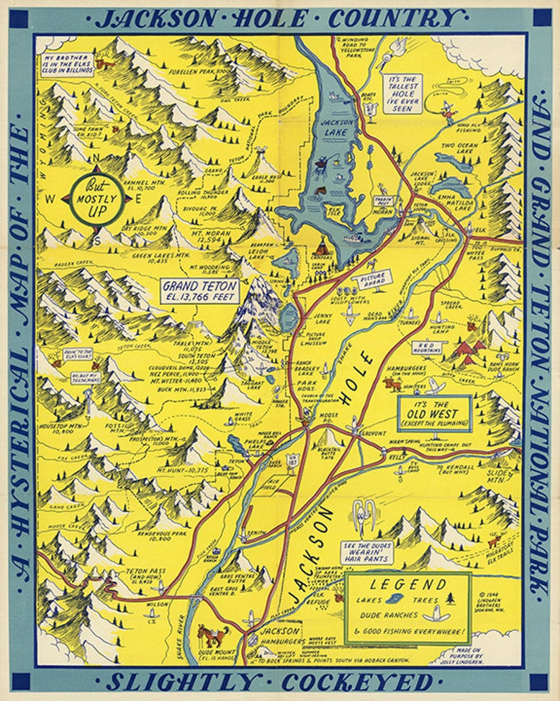 Map of Jackson Hole country and Grand Teton National Park | Etsy
