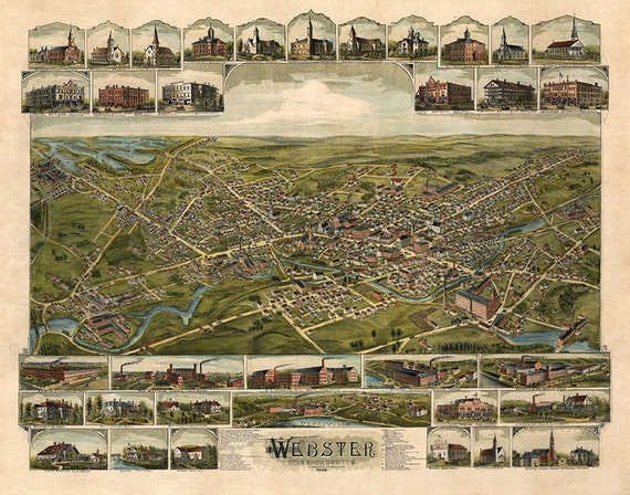 Map Of Webster Massachusetts Ma 1892 Worcester County Etsy