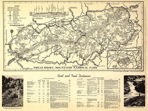 Map of Great Smoky Mountains National Park North | Etsy