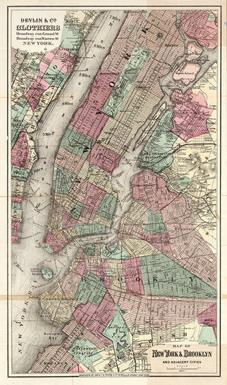 Map Of New York 1850.Map Of New York City Lower Manhattan 1850 Vintage Restoration Hardware Home Deco Style Old Wall Reproduction Map Print