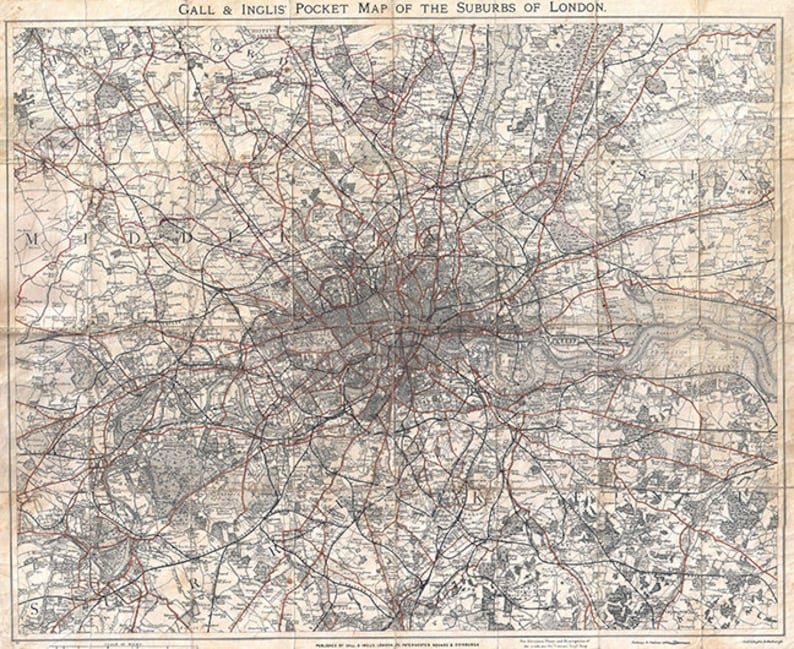Map Of Uk 1900.Historic London Map England U K 1900s Restoration Hardware Home Deco Style Old Wall Map Vintage Reproduction