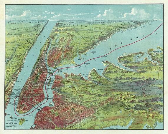 New York City 24x32 New York 1876 Historic Panoramic Town Map