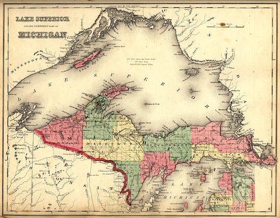 Map of the Upper Peninsula, Michigan MI, 1873. Restoration Hardware Map Of Upper Penninsula Michigan on county map of upper michigan, map of upper peninsula michigan, map upper peninsula mich, map of upper mi,