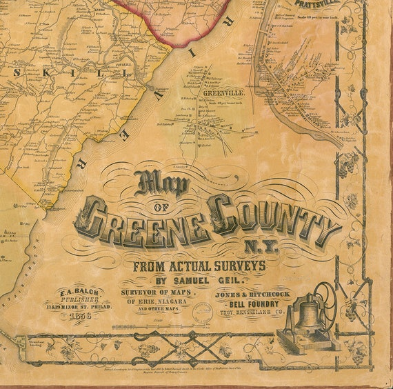 map of greene county n y 1856 vintage restoration hardware etsy