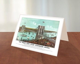 Greeting Card of The Great East River suspension bridge: connecting the cities of New York and Brooklyn. view south 1883.
