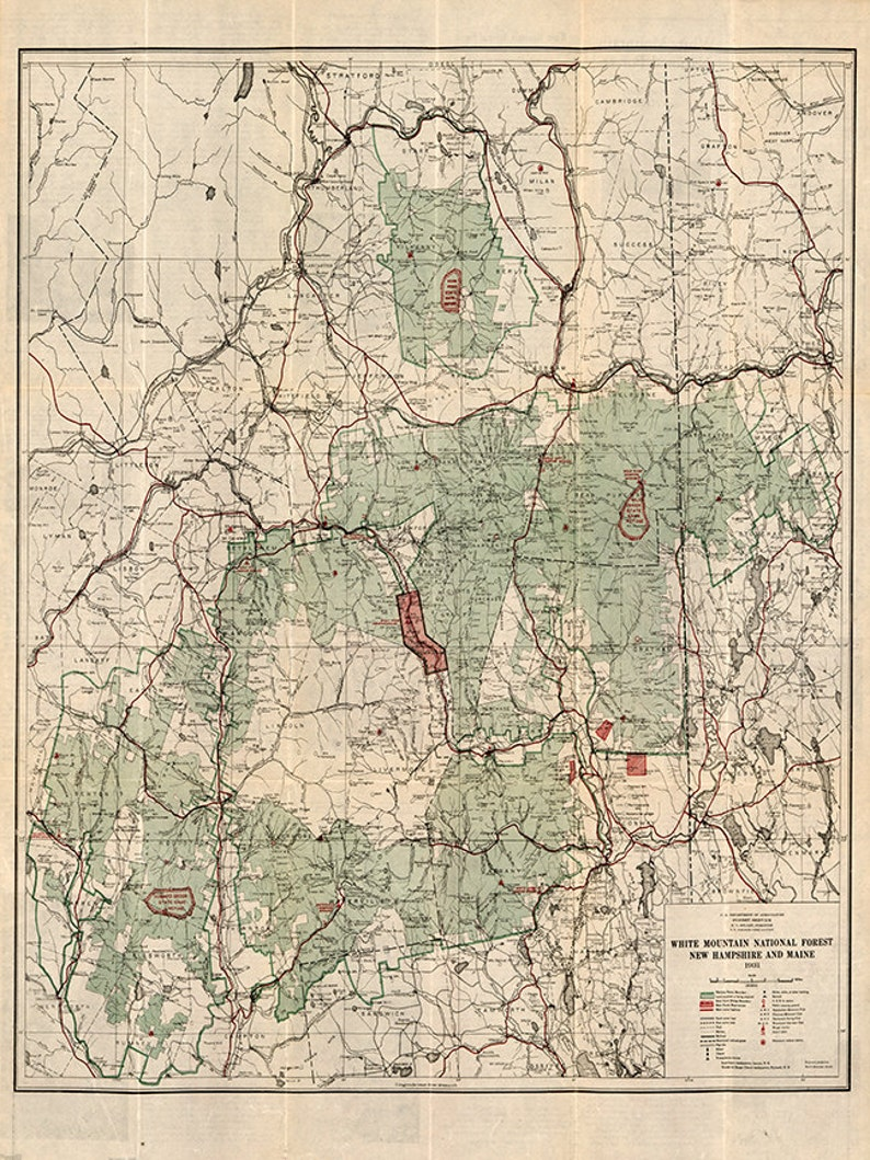 White Mountain National Forest, New Hampshire and Maine, 1931. Vintage  reproduction map.