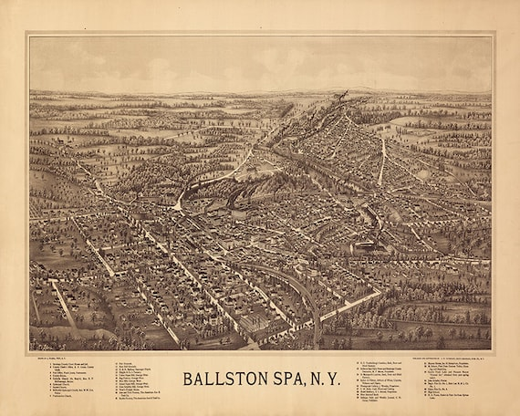 Map Of Ballston Spa, Saratoga County, New York N.Y 1890. Vintage Bird's Saratoga Wineries Map on saratoga ca wineries, saratoga ca map, saratoga winery, saratoga parks map, saratoga wine trail, saratoga wineries los gatos, saratoga wine tasting,