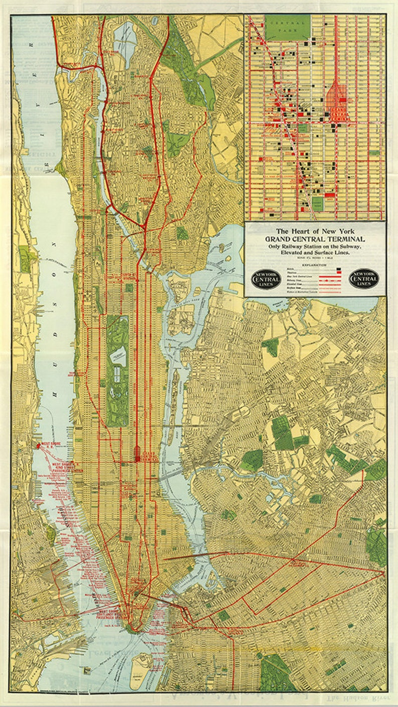 Grand Central Station Subway Map.Map Of New York Central Line 1918 The Heart Of Grand Central Terminal Only Railway Station On Subway Elevated And Surface Lines Map