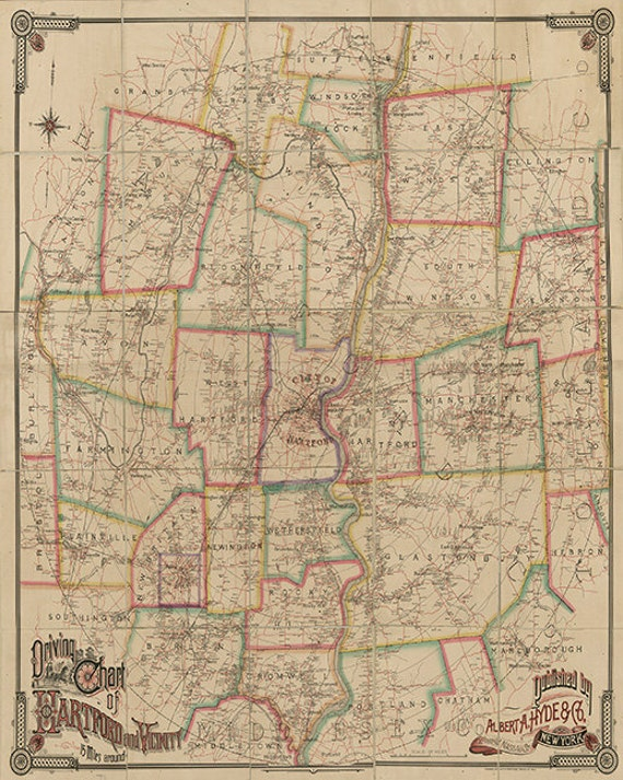 Map of driving chart of Hartford Connecticut CT and vicinity   Etsy