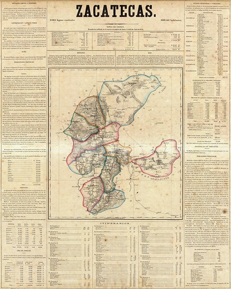 Map of Zacatecas Mexico 1858. Vintage restoration hardware   Etsy Zacatecas Map on