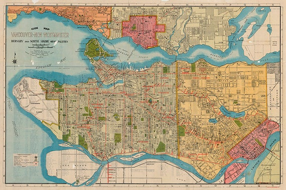 Map of Vancouver-New Westminster British Columbia Canada. | Etsy