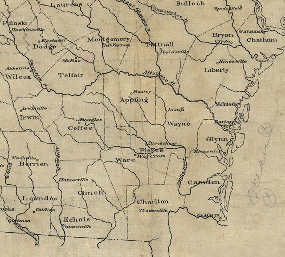 Map of the Mississippi River and Louisiana 1730 Vintage Style US Map 24x32