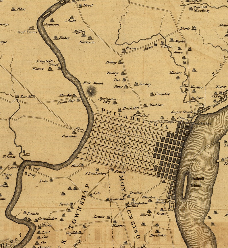 Map of Philadelphia, Pennsylvania PA  1777  Restoration Hardware Home Deco  Style Old Wall Map  Vintage Reproduction