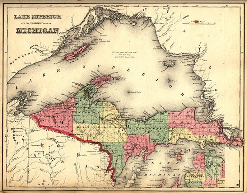 Upper Pennisula Michigan Map.Map Of The Upper Peninsula Michigan Mi 1873 Restoration Hardware Home Deco Style Old Wall Vintage Reprint