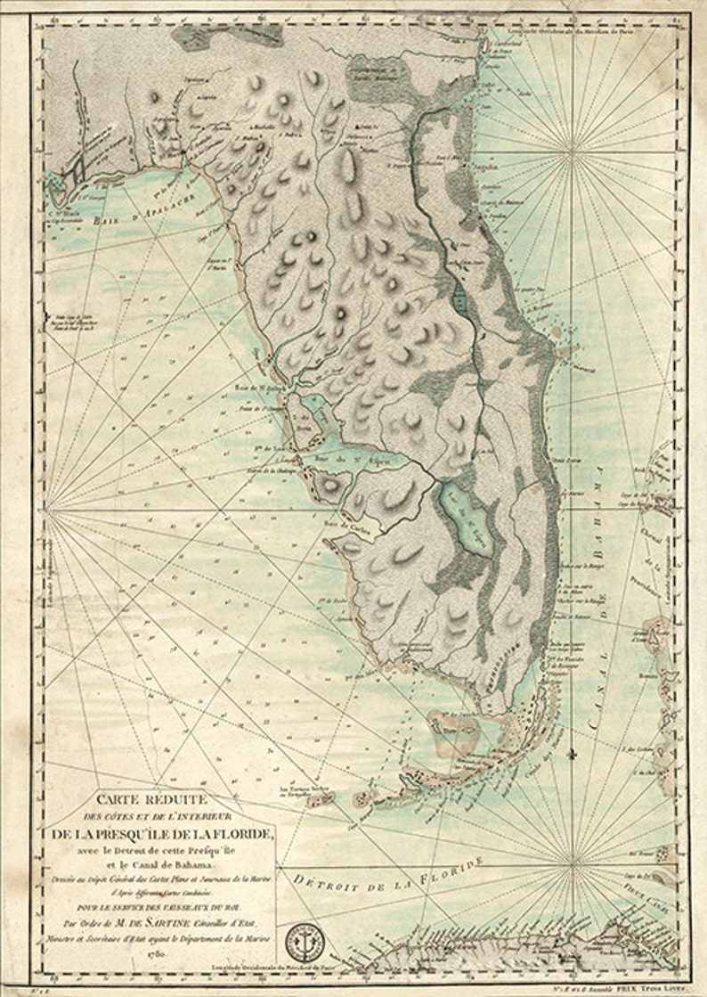 Nautical charts of Florida, FL 1780 Restoration Hardware Home Deco Style  Old Wall Vintage Reprint