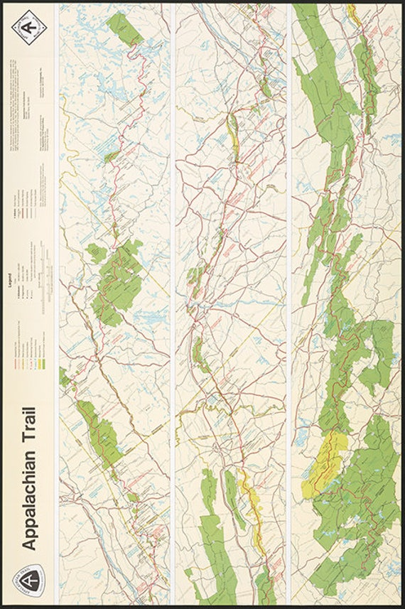 Appalachian Trail from US National Park Service. Reproduction map print.