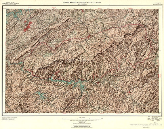 Map of Great Smoky Mountains National Park, North Carolina/Tennessee, Smoky Mountain National Park Hiking Map on hiking lake tahoe map, hiking appalachian trail map, hiking cades cove map,