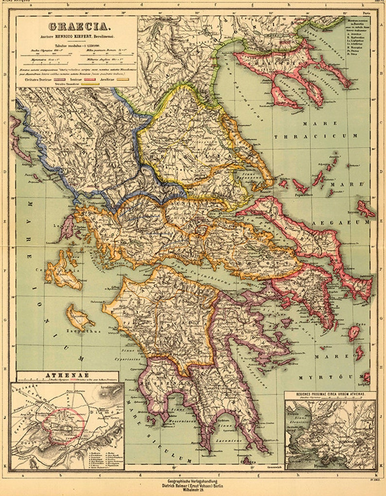 photo about Printable Map of Ancient Greece named Historic Greece map, 1903. Dietrich Reimer. Traditional recovery components residence Deco Layout previous wall duplicate map print.
