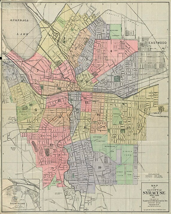 Map of Syracuse, Onondaga County, NY; 1920. Restoration Hardware Home Deco  Style Old Wall Map. Vintage Reproduction.