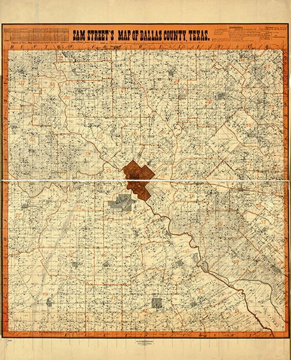 Map of Houston Texas /& Environs 1895; Antique Map; Printed to Order