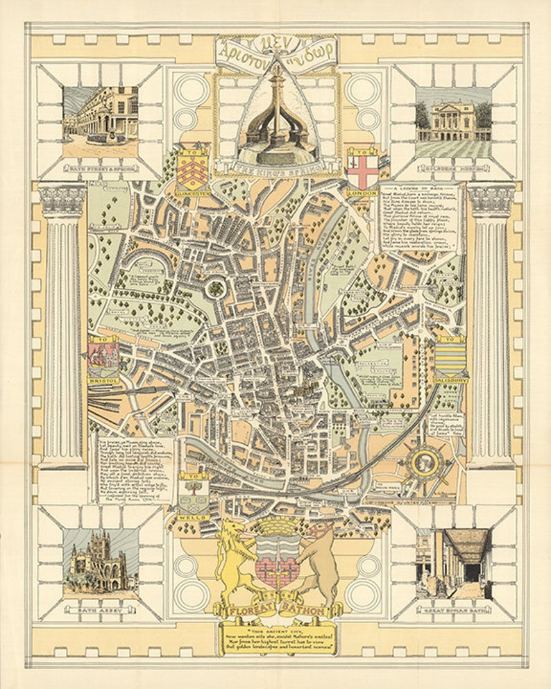 Map Of England Vintage.Map Of Bath England Vintage Reproduction Deco Style Map Etsy