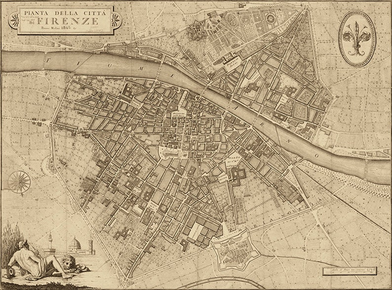 Old Map Of Florence Firenze Italy 1847 Restoration Etsy