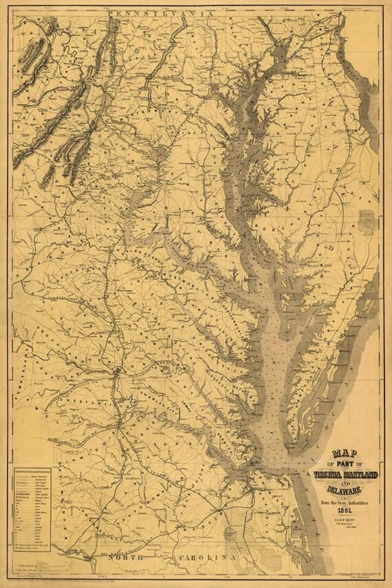 Map Of Part Of Chesapeake Bay Virginia Maryland Delaware Etsy