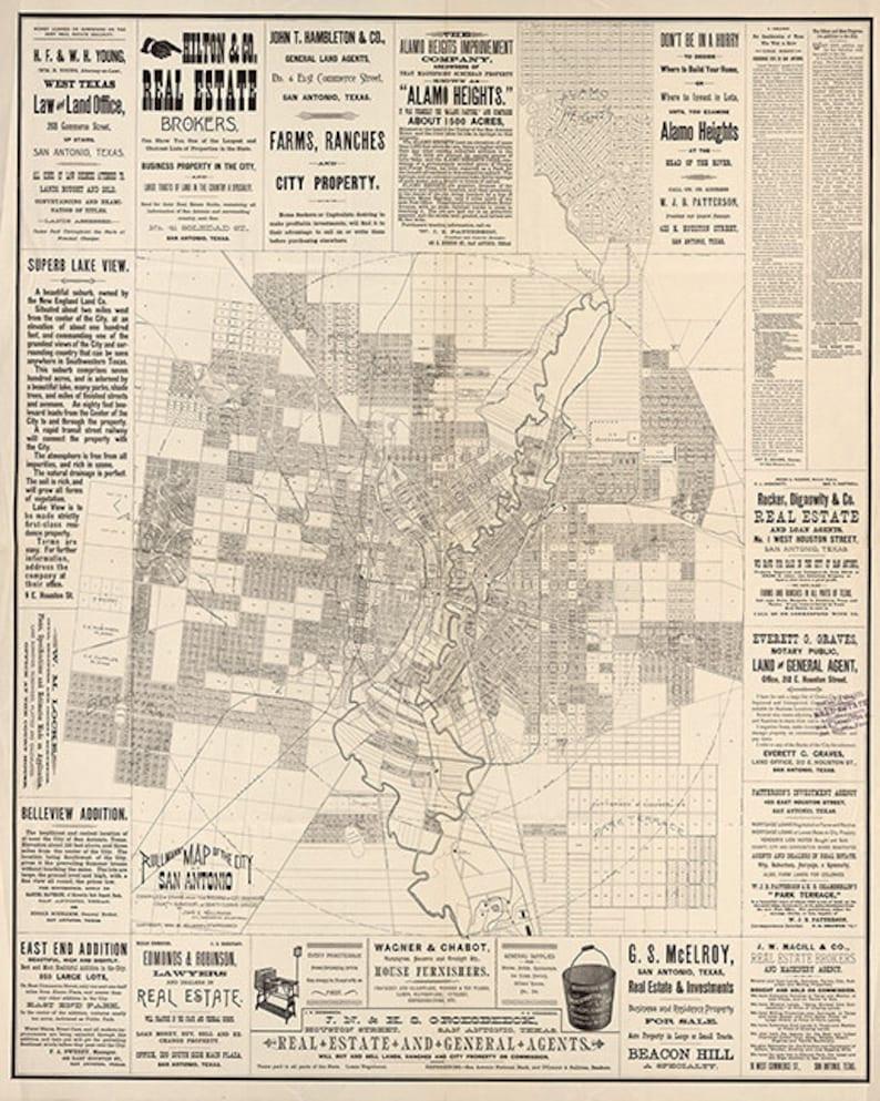 Rullman map of San Antonio, Bexar County, Texas TX 1890  Restoration  Hardware Home Deco Style Old Wall Vintage Reprint