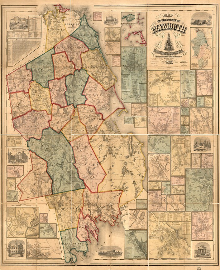 Restoration Hardware Home Deco Style Old Wall Map MA. Vintage Reproduction. Norfolk County 1879 Massachusetts Foxborough