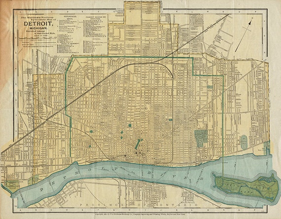 Map of the Detroit Michigan MI 1895. Restoration Hardware | Etsy