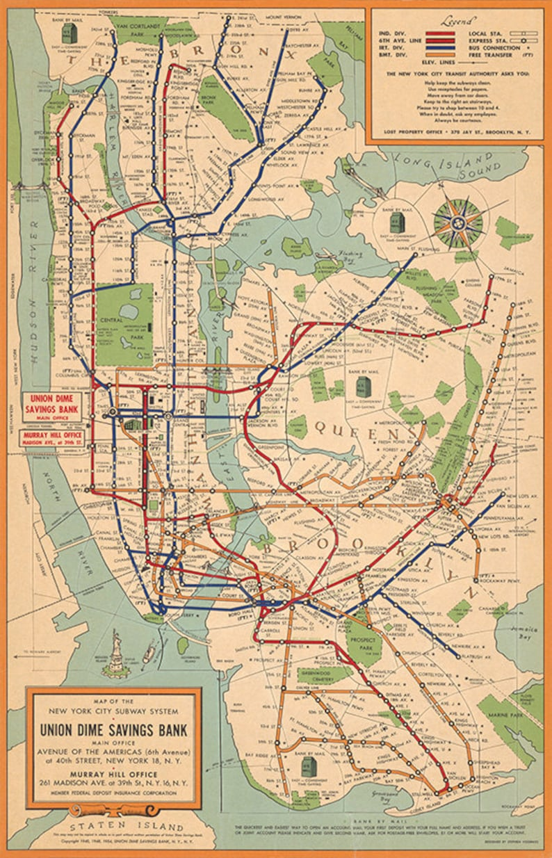 Order Free Nyc Subway Map.Map Of New York City Subway System 1954 Vintage Restoration Hardware Home Deco Style Old Wall Reproduction Map Print