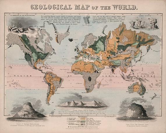 Geological Map Of The World 1850 Vintage Restoration Etsy