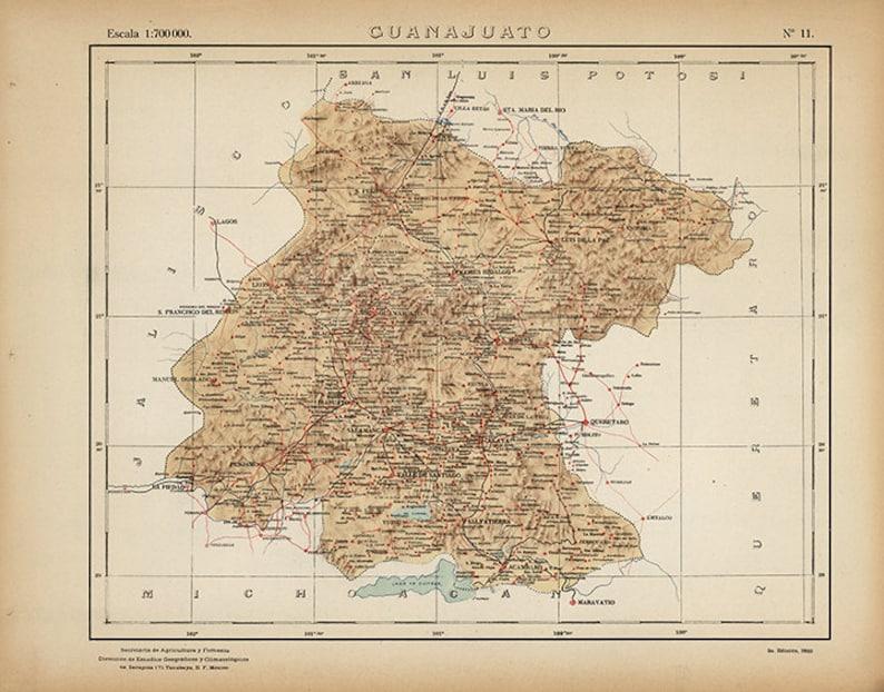 Mexico Map Guanajuato.Map Of Guanajuato Mexico 1922 Vintage Restoration Hardware Etsy