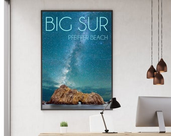 Pfeiffer Beach / Big Sur Poster / Big Sur California / Above Bed Decor / Seaside Decor / California Artwork / Inspiring Wall Art