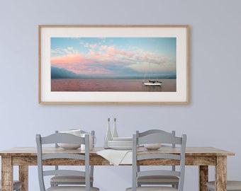 Sailboat Print / Above Bed Decor / Inspiring Photo / Large Panoramic Art / Monterey Bay / West Coast Art / Ocean Artwork / Visionary Art