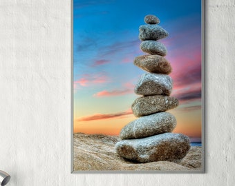Equilibrium / Balanced Rock Photo / Zen Photography /  Stacked Rock Photo / New Age Decor / A Quiet Place / Visionary Art / Rich Color Art