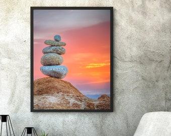 Stacked Rock Photo / Zen Photography / Equilibrium / Inspiring Photo / New Age Decor / Coastal California / Asymmetric Art / A Quiet Place