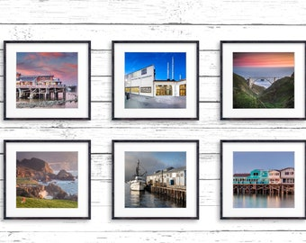 Monterey Collection / Set of Six Prints / West Coast Art / Bixby Bridge / Fisherman's Wharf / California Creations / Above Bed Decor