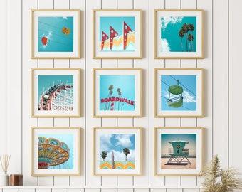 Santa Cruz Art / Vibrant Wall Art / Cheap Kitchen Decor / West Coast Art / Set of 9 Prints / California Artwork / Zen Photography