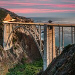 Bixby Bridge at Dusk - big sur,california,home decor,office decor,sunset,pink,earth tones,office decor,home decor,clouds,coast,ocean,arch