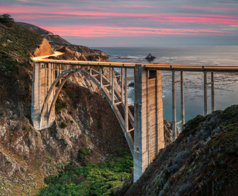 Bixby Bridge at Dusk  big surcaliforniahome decoroffice image 0