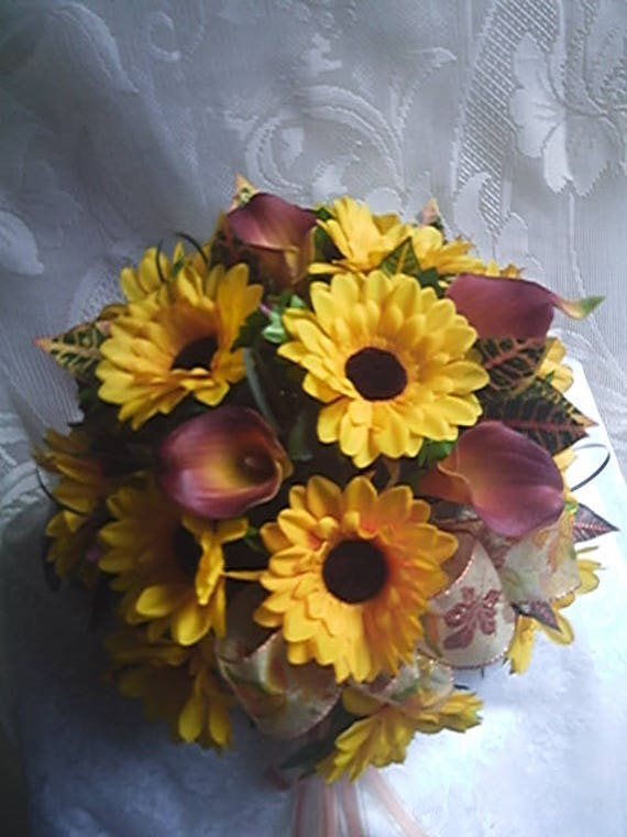sunflowers plum flame real touch calla lillies round wedding etsy