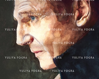 Holiday Gift Art - Liam Neeson Portrait - Print from the original drawing